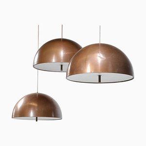 Danish Copper Pendant Lamps by Jo Hammerborg, Set of 3