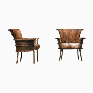 Palm Wood Armchairs, 1930s, Set of 2