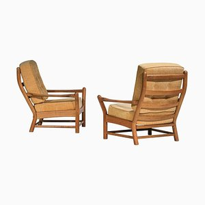 Solid Oak Armchairs by Guillerme et Chambron, Set of 2