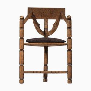 Skandinavischer Dreibein Stuhl aus Massiver Eiche