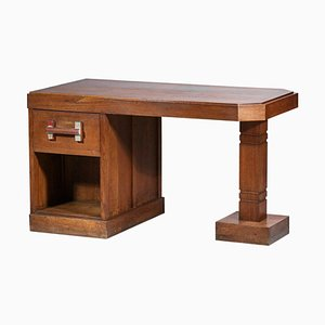 Brutalist Desk in Solid Oak by Charles Dudouyt