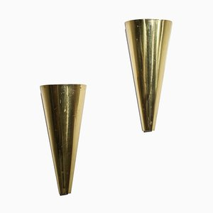Modernist Curved Wall Sconces in Brass, Set of 2