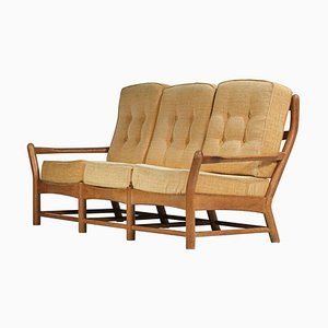 3-Seater Solid Oak Sofa by Guillerme et Chambron, 1960s