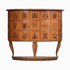 Italian Marquetry Sideboard with Floral Decoration