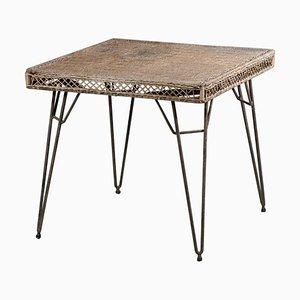 Vintage Rattan Tisch im Stil von Matégot, 1950er