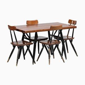 Scandinavian Dining Room Set by Ilmari Tapiovaara for Laukaan Puu, 1950s, Set of 5