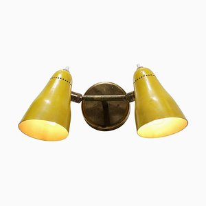 French Brass Double Wall Lamp, 1950s