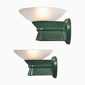 Vintage Ceramic Wall Sconces with Glass Lampshades, 1950s, Set of 2