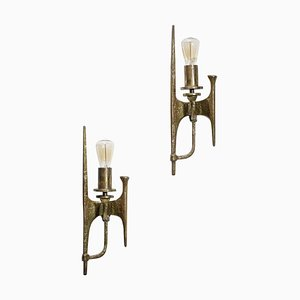 Gilded Bronze Wall Lights in the Style of Felix Agostini, 1960s, Set of 2