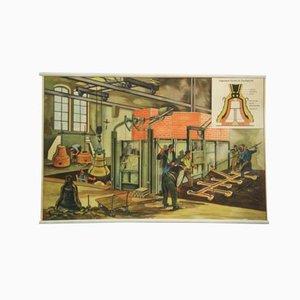 "Póster educativo alemán ""Bell-Foundry"", años 60"