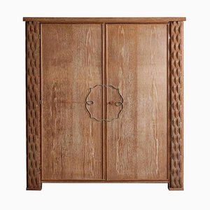 Modernist Wardrobe in Solid Wood by Jean Michel Franck