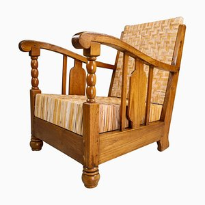 Art Deco British Colonial Rattan and Wood Lounge Chair, India, 1920s