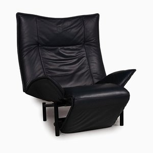 Cassina Veranda Leather Armchair Dark Blue Function Relax Function by Vico Magistretti for Cassina