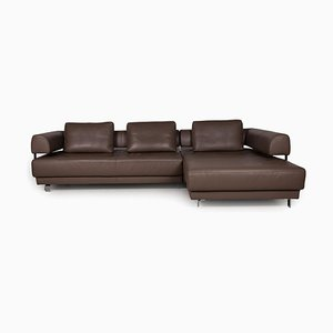 Brand Face Brown Leather Sofa from Ewald Schillig