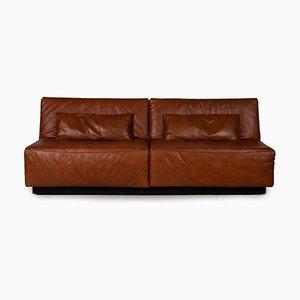 Tema Braunes Leder 2-Sitzer Sofa von Franz Fertig