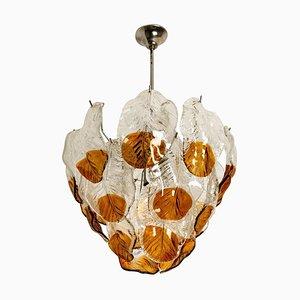 Murano Kronleuchter aus orangefarbenem Klarglas & Chrom von Mazzega, 1960er