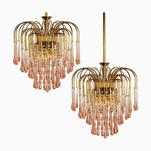Chandeliers with Murano Pink Glass in the style of Venini, Italy, 1970s, Set of 2
