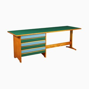 Italienischer Schreibtisch aus hellem Mahagoni & Resopal, 1950er