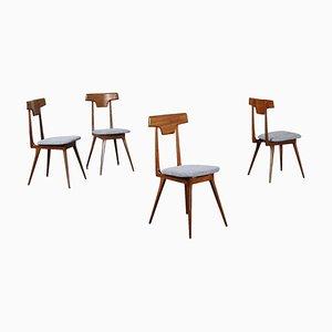 Beech, Mahogany & Fabric Dining Chairs, Italy, 1950s, Set of 2