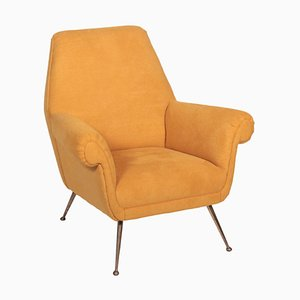 Armchair in Brass & Fabric, Italy, 1950s