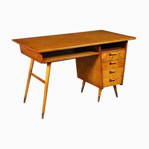 Veneered Wood, Solid Fruitwood, Brass & Beech Desk, Argentina, 1950s