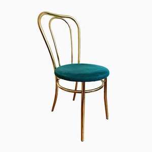 Golden Chair and Stool with Turquoise Fabric Cushion, Set of 2