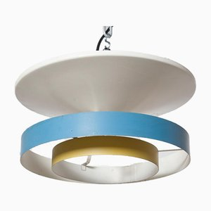 Blau-gelbe Wand- oder Deckenlampe von Louis Kalff für Philips