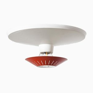 Red & White Wall or Ceiling Light by Louis Kalff for Philips