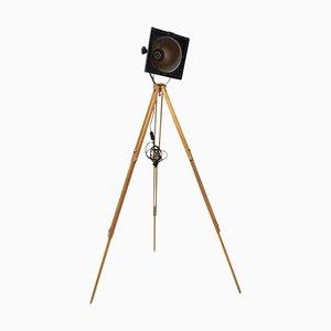 Industrial Black Enamel Spot Light Tripod Floor Lamp, 1970s