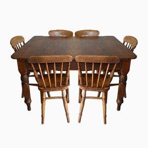 Antiker Esstisch mit Windsor Stühlen, 7er Set