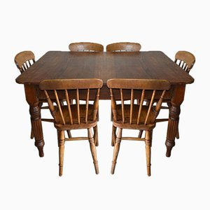 Antique Dining Table with Windsor Chairs, Set of 7