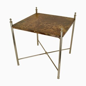 Parchment Side Table on Chrome Legs by Aldo Tura