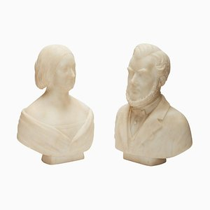 Marble Portrait Busts of Man and Woman, 19th Century, Set of 2