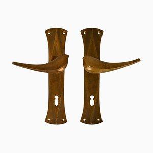 Bronze Sove Door Handles Cast in Bronze, Set of 2