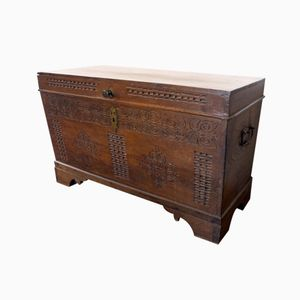 Antique Carved Oak Blanket Chest