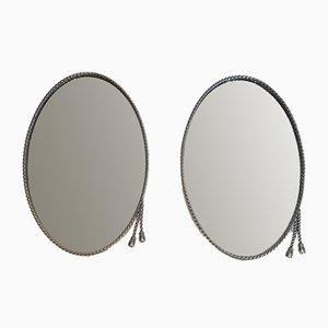 Miroirs Ovales Argentés Attribués à la Maison Bagués, Set de 2
