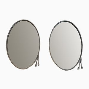 Oval Silvered Mirrors Attributed to Maison Bagués, Set of 2