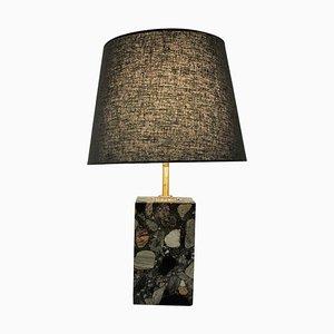 Norwegian Rectangular Stoneware Conglo Table Lamp, 1980s