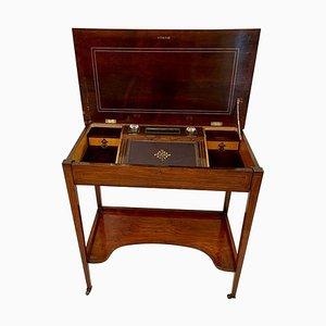 Antiker edwardianischer Schreibtisch aus Palisander mit Intarsien