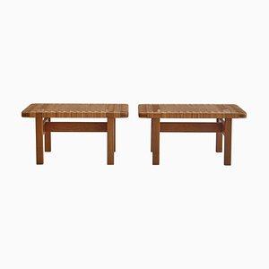 Set de Tables d'Appoint ou Bancs en Chêne et Rotin par Børge Mogensen pour Fredericia, Danemark, 1950s