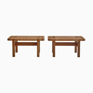 Side Tables or Benches Set in Oak and Rattan Cane by Børge Mogensen for Fredericia, Denmark, 1950s