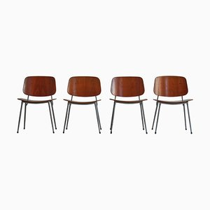 Danish Modern Dining Chairs in Steel and Plywood by Børge Mogensen for Søborg Møbelfabrik, 1953, Set of 4