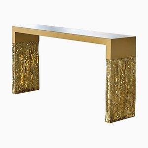 Goldfarbener Good Vibration Konsolentisch von Davide Medri