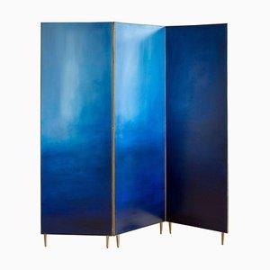 Blue Hand Painted Screen by Jan Garncarek