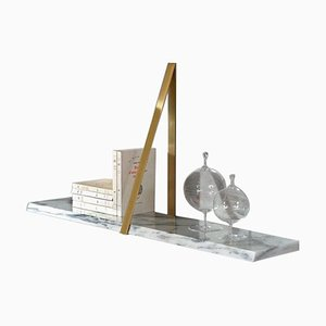 Polished Brass Marble T-Square Shelf by Michael Anastassiades