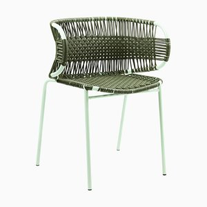 Olive Cielo Stacking Chair with Armrest by Sebastian Herkner