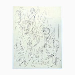 George Grosz, The Fifth Wheel, 1934, China Ink Drawing on Paper, 1934