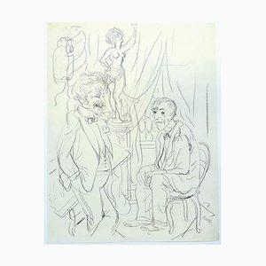 George Grosz, The Fifth Wheel, 1934, Dessin à l'Encre de Chine sur Papier, 1934