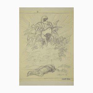 Leo Guida, Ritter auf einem geflügelten Thron, Zeichnung, 1972