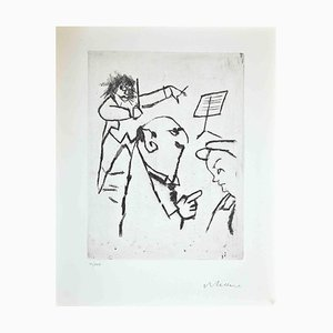 Mino Maccari, At the Concert, Etching, 1970s